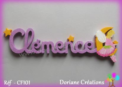 Lettres prenom bois clemence avec elfe