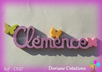Lettres prenom bois clemence papillons unis