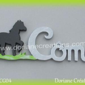 Lettres prenom bois come cheval