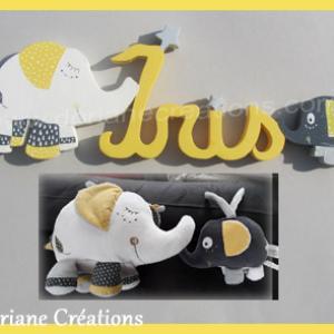 Lettres prenom bois elephants