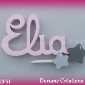 Lettres prenom bois elia signature etoiles