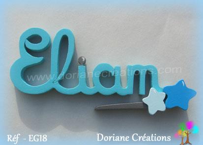 Lettres prenom bois eliam signature etoiles