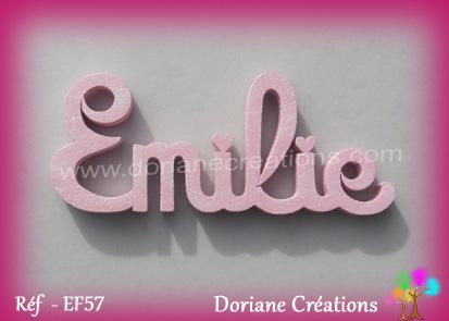 Lettres prenom bois emilie