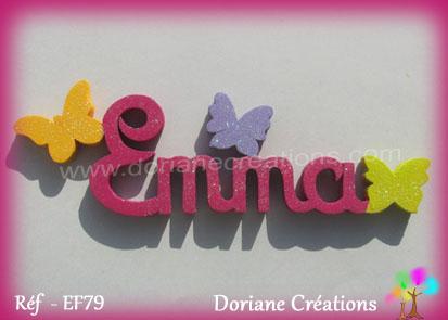 Lettres prenom bois emma papillons unis