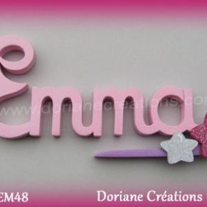Lettres prenom bois emma signature etoiles