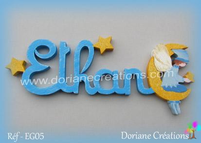 Lettres prenom bois ethan avec elfe