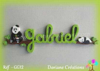 Lettres prenom bois gabriel avec pandas