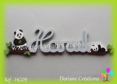 Lettres prenom bois harut avec pandas