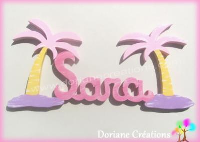 Prénom lettres bois îles et palmiers