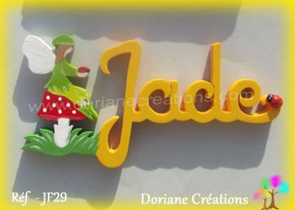 Lettres prenom bois jade avec lutin 1