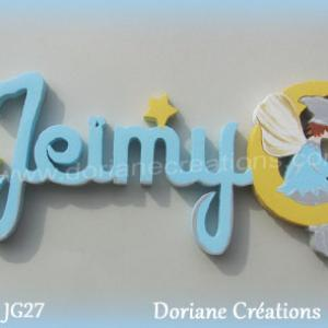 Lettres prenom bois jeimy avec elfe