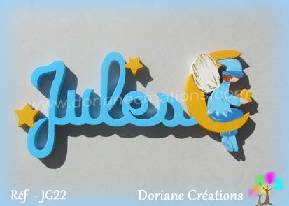 Lettres prenom bois jules avec elfe
