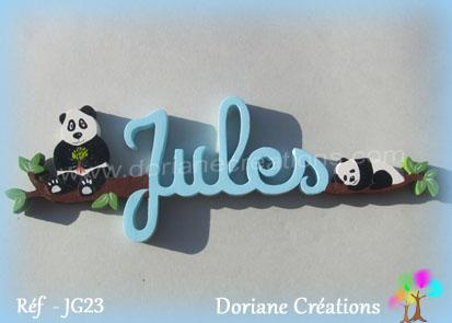 Lettres prenom bois jules avec pandas
