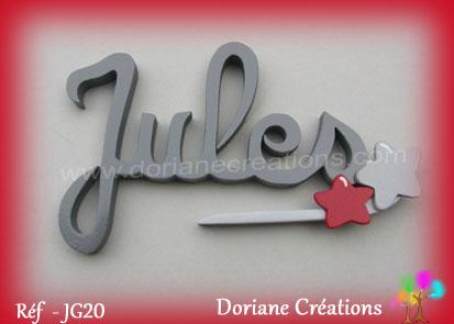 Lettres prenom bois jules signature etoiles