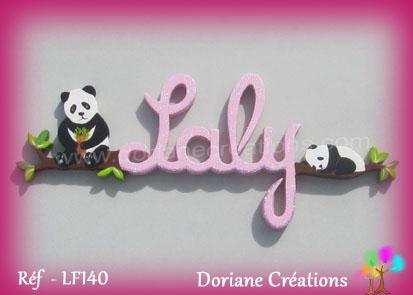 Lettres prenom bois laly avec pandas