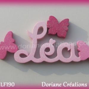 Lettres prenom bois lea papillons unis