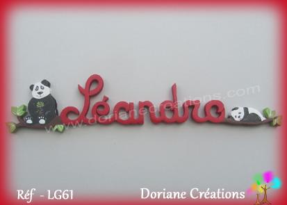 Lettres prenom bois leandro avec pandas
