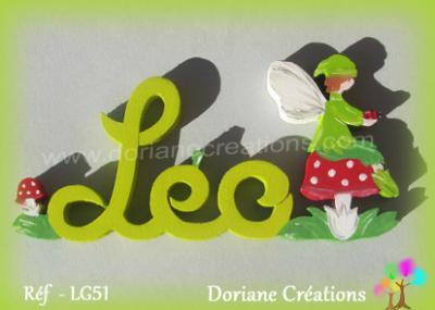 Prénom lettres bois décor elfe sur champignon