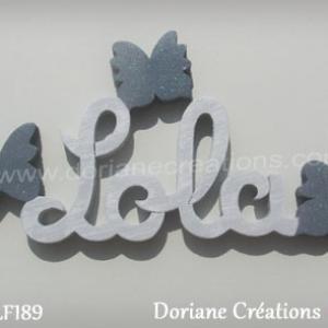 Lettres prenom bois lola papillons unis