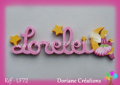 Lettres prenom bois lorelei avec elfe