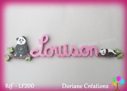 Lettres prenom bois louison avec pandas