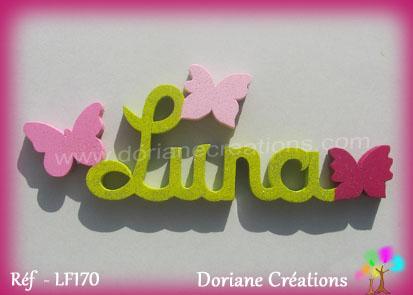 Lettres prenom bois luna papillons unis