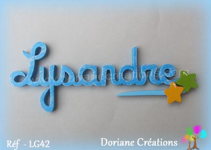 Lettres prenom bois lysandre signature etoiles