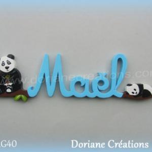 Lettres prenom bois mael avec pandas