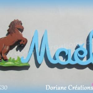 Lettres prenom bois mael cheval
