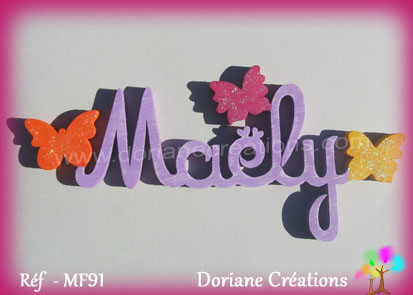 Lettres prenom bois maely papillons unis