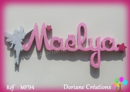 Lettres prenom bois maelya avec fee