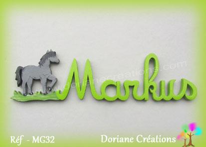 Lettres prenom bois markus cheval