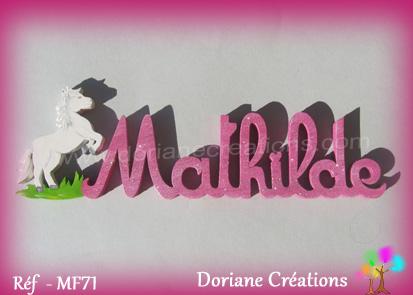 Lettres prenom bois mathilde cheval