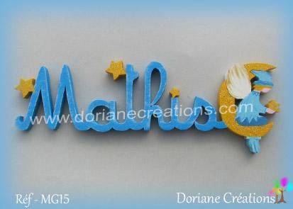 Lettres prenom bois mathis avec elfe