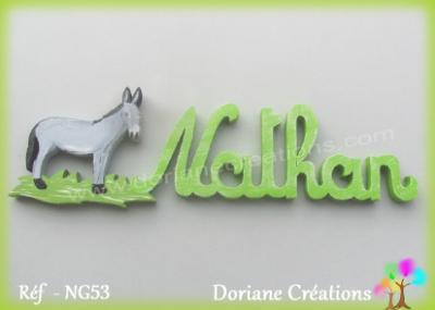 Prénom lettres bois avec âne