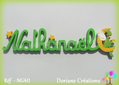 Lettres prenom bois nathanael avec elfe