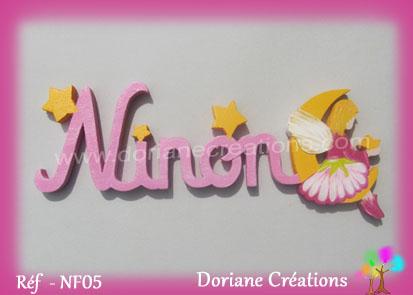 Lettres prenom bois ninon avec elfe