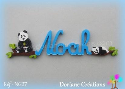 Lettres prenom bois noah avec pandas