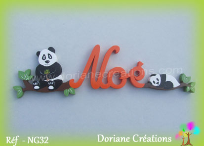 Lettres prenom bois noe avec pandas