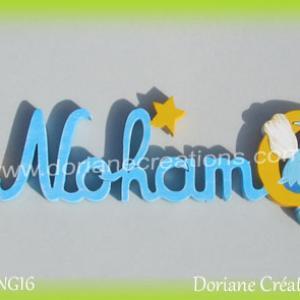 Lettres prenom bois noham avec elfe