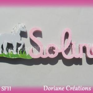 Lettres prenom bois soline cheval