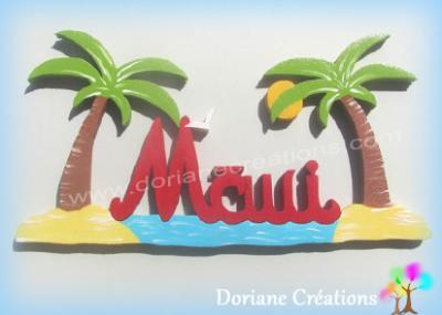 Prénom lettres bois mer et palmiers