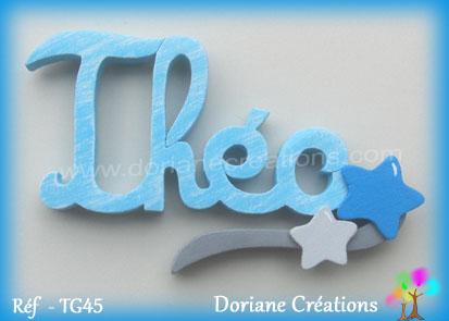 Lettres prenom bois theo signature etoiles