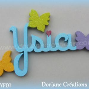 Lettres prenom bois ysia papillons unis