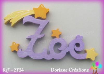 Prénom lettres bois avec étoile filante