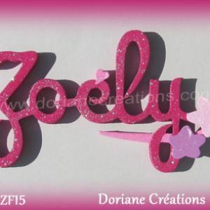 Lettres prenom bois zoely signature etoiles