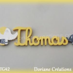 Lettres prenoms bois thomas elephants