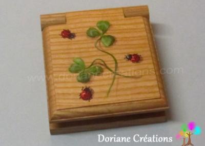 02- mini bloc-note bois , décor coccinelles