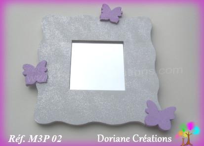 Miroir gris clair 3 papillons parme 02