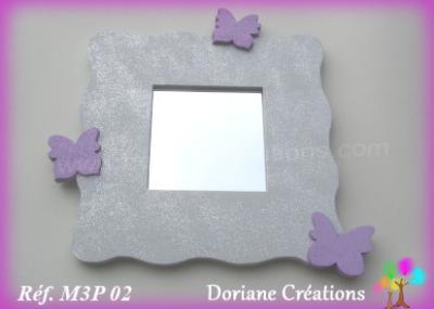 02- Miroir gris clair 3 papillons parmes